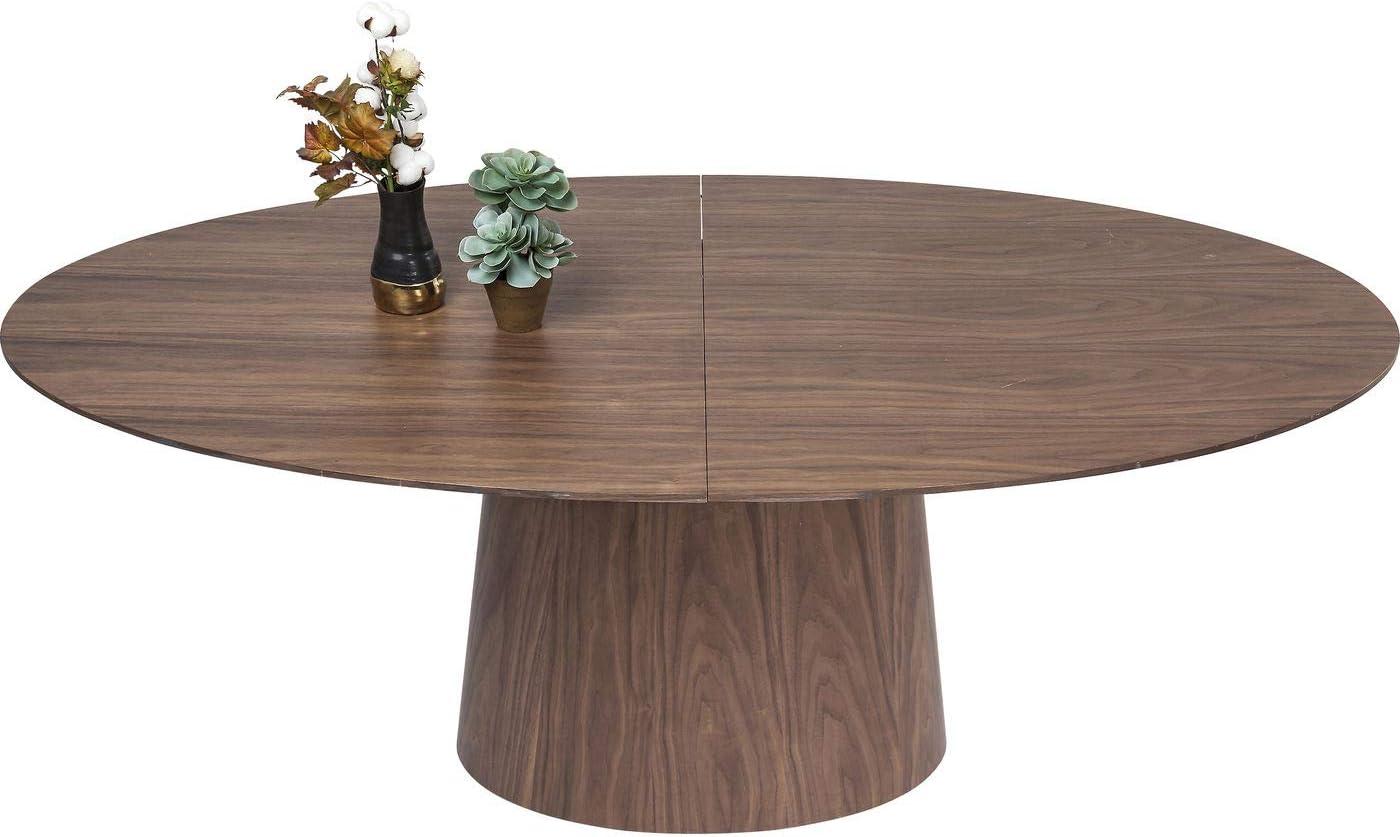 Kare Design Ausziehtisch Benvenuto Walnut 200(50)x110cm, Ausziehtisch rund, brauner runder Esstisch, (HBT) 75x200x110cm