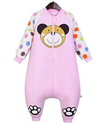 Happy Cherry Saco de Dormir Acolchado Pijama de Mangas Largas Ropa de Cama Cartoon Bolsa de Dormir Sleepwear para Bebés Niños Niñas Talla XL Longitud 92cm: ...