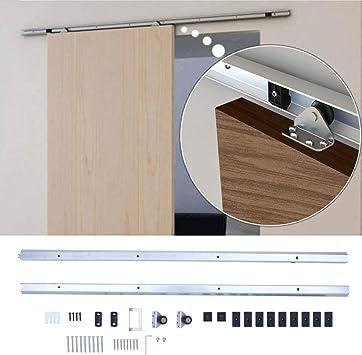 KinshopS - Juego de puertas correderas de madera para armario, fácil de instalar, kit de puerta corredera de acero, plateado: Amazon.es: Bricolaje y herramientas