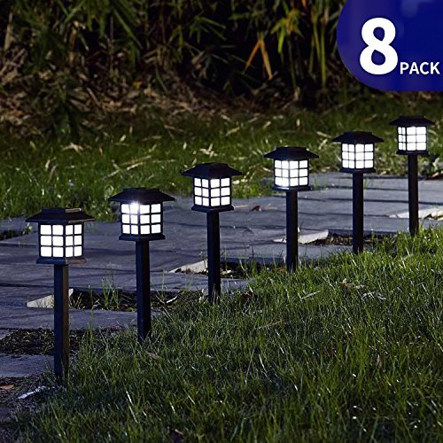 FC-Fancier Solar Lights for Outdoor Garden Led Light Landscape / Pathway Lights, Bright White, Waterproof-8 Pack (Japanese Lighting Outdoor Style)