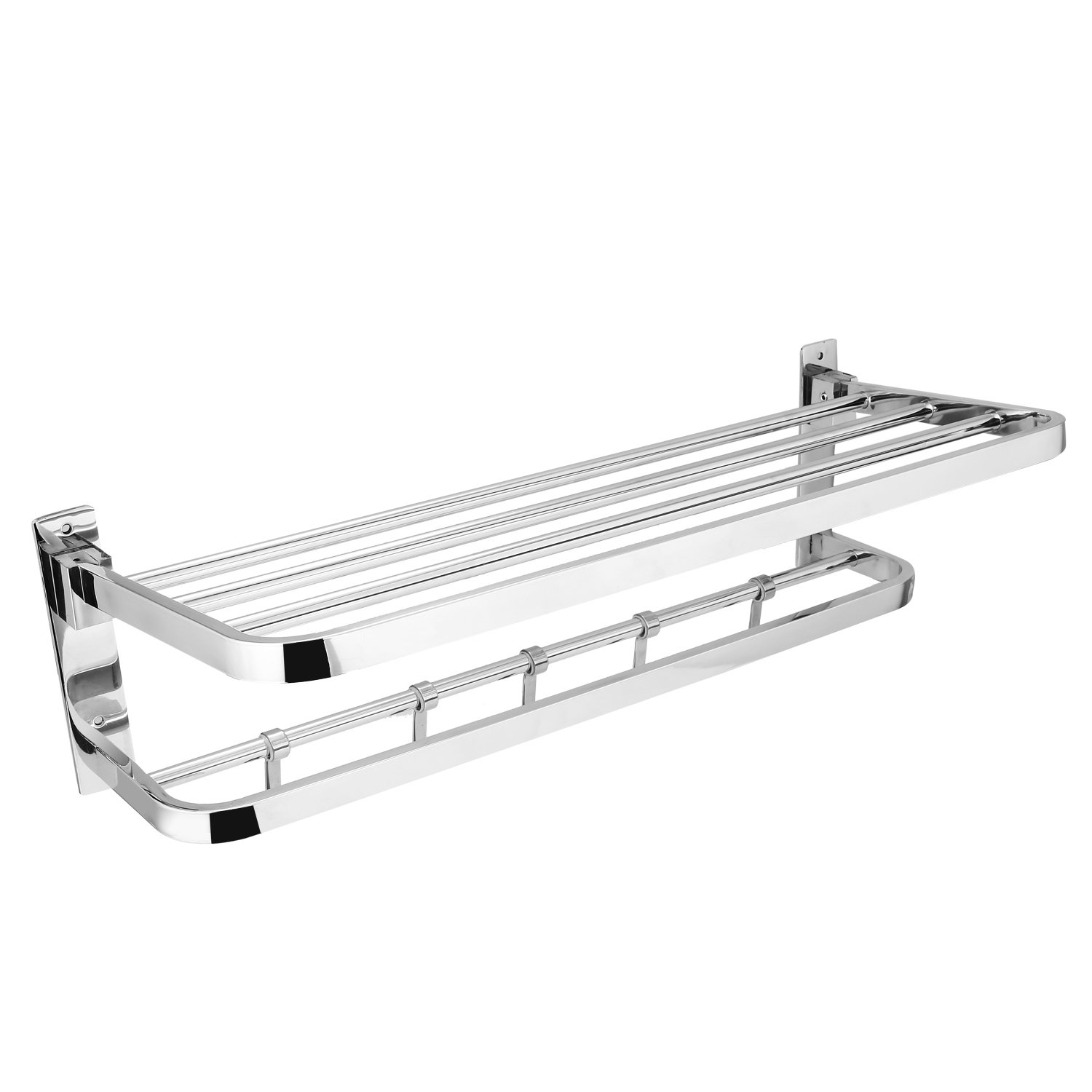 Leoneva Wall Mount 2 Tier Tower Rack, Stainless Steel Rail Tower Hotel Shelf for Storage Towel Bars (22 x 9.5 inches)