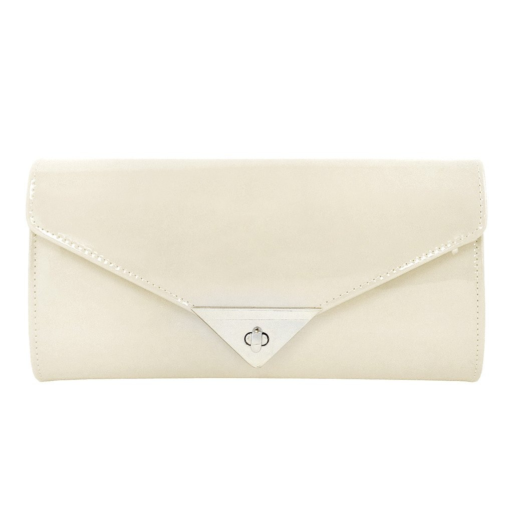 JNB Women's Patent Leather Candy Clutch, Cream
