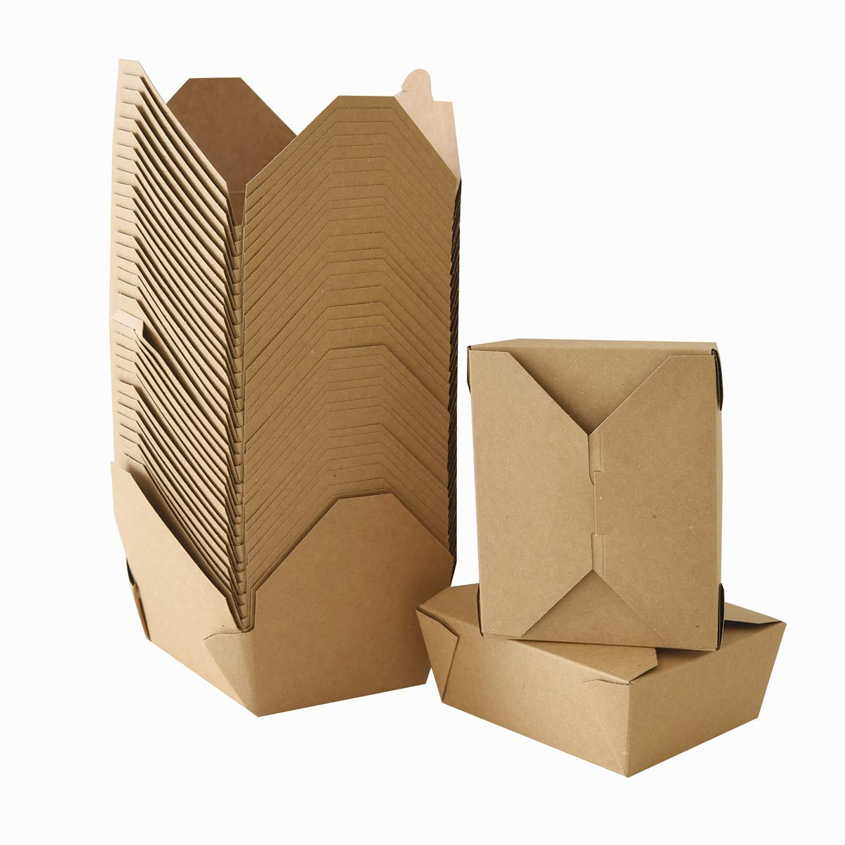 Take Out Boxes Chinese Take Out Containers 40 Pack Microwaveable Folding Natural Kraft Food Box Meal Prep Containers for Food Take Out Boxes Ideal Leak and Grease Resistant for Restaurants (Brown, 45 Oz)