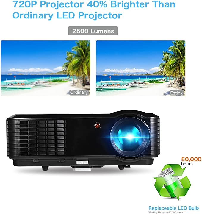 Video Proyector - Proyector 2500 Lúmenes 1280*800 Full HD 1080P ...