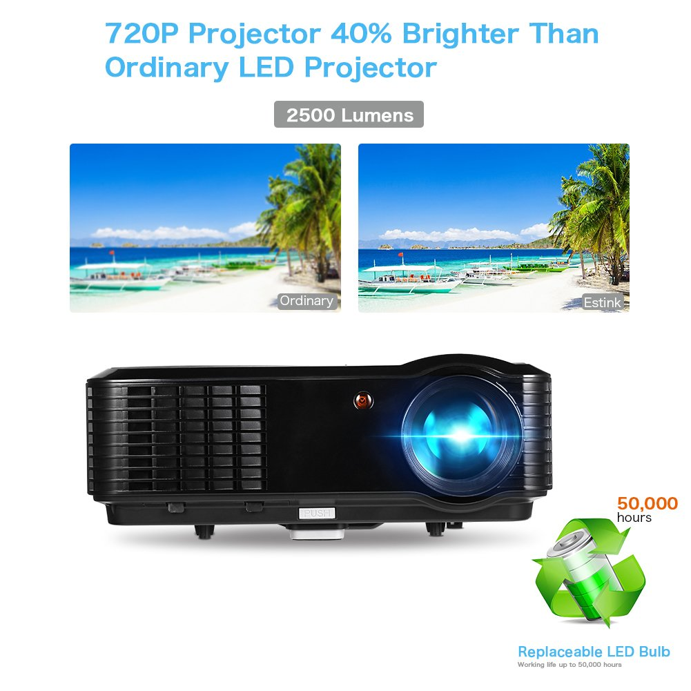 Video Proyector - Proyector 2500 Lúmenes 1280*800 Full HD 1080P ...