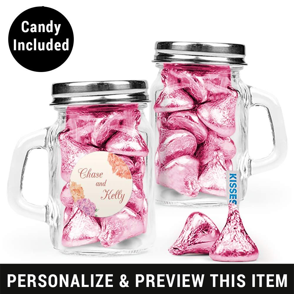 Amazon.com : Candy Wedding Favors Personalized Mini Glass Mason Jars ...