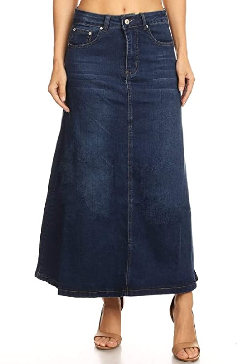 Women's Juniors Mid Rise A-Line Long Jeans Maxi Denim Skirt in M. Blue Size L best jean skirts
