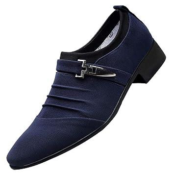 WWricotta LuckyGirls Hombre Zapatillas Lona para Andar Negocio Formal Casual Cómodas Calzado de Planos Transpirables Zapatos