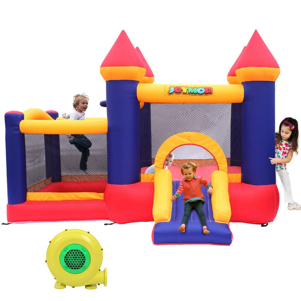 JOYMOR Bounce House Inflatable Bouncer Jumping Castle with Air Blower, Jump Slide, Dunk Playhouse