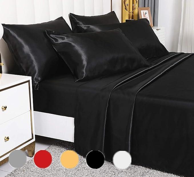 Luxury Rich Silk Satin Silky 4 Piece Bed Sheet Set Stain-Resistant White//Grey