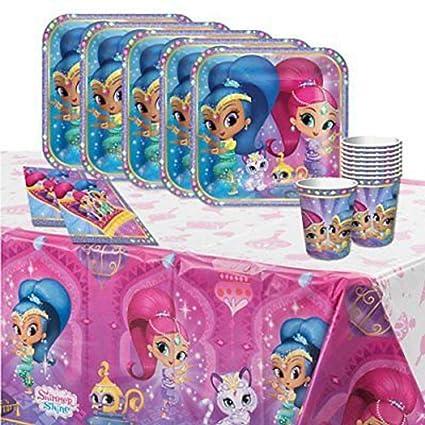 "Lote de Cubiertos Infantiles Desechables Decorativos ""Shimmer & Shine "" (16 Vasos"