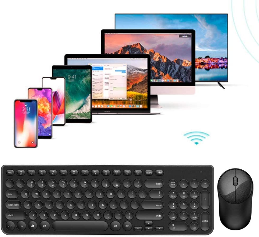 2.4ghz Round Punk Keycap Wireless Keyboard Mute Power Saving Wireless Mouse Set for Win2000//WinNT4.0//WinXP//Win.NET//Win7//8//10//MAC OS X10.8 ASHATA Keyboard Mouse Combo Pink