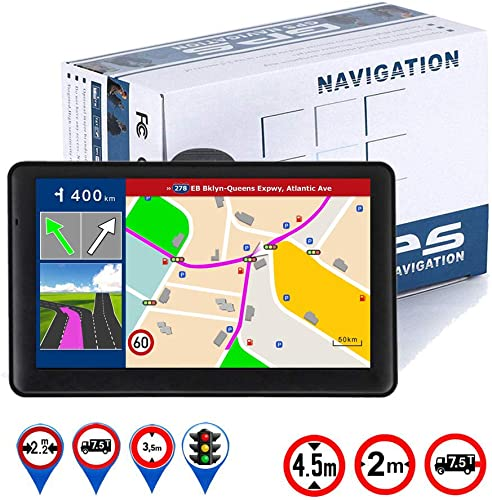 GPS Navigation for Car Truck RV, 7 Inch Touch Screen Vehicle GPS, Free Lifetime Maps of North America USA Canada Mexico, Lane Assistance, Spoken Turn-by-Turn Directions LONGRUF Navigation System