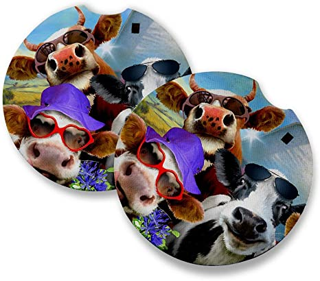 Amazon Com Car Coasters Rubber Cow Family On The Farm Udderly Cool Animal Selfie Art By Howard Robinson Funny Cute Adorable Animals Pets Butterflies Coasters