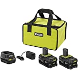 RYOBI 18V ONE+ Lithium+ 4.0 Ah Battery 2-Pack Starter Kit with Charger and Bag, PSK003