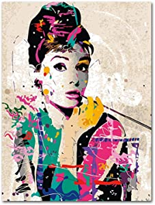 YGYT Canvas Wall Art for Audrey Hepburn Famous Actress Poster on Canvas I Unframed I 24x32 inches