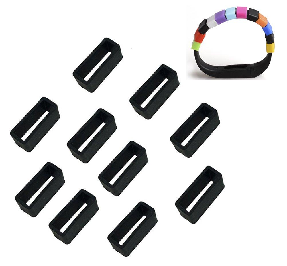 Yonger 10個シリコンFastener Ring for Fitbit Chargeリストバンド( Not for Fitbit Flexまたは他モデル) B019TVV6WG ブラック