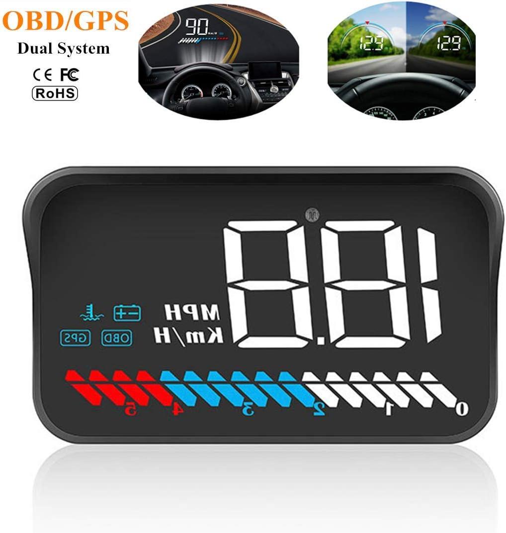Universal HUD Head Up Display Digital velocímetro GPS / OBD2 con Prueba de aceleración Prueba de Freno Alarma de sobrevelocidad Pantalla LCD HD de 4.3
