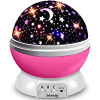 Projector Licht, Moon Star Projector, Nieuwigheid Moon Star Projector Nachtlampje Roterende Sterrenhemel LED Baby…