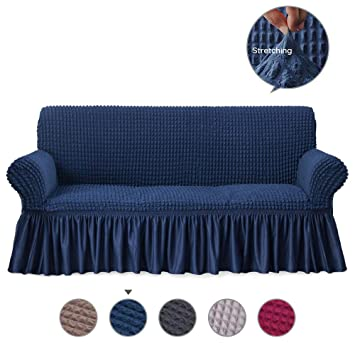 Groovy Alpha Belle 1 Piece Univeral Fit Easily Sofa Slipcover With Elastic Quick Drying Fabric Durable Stretchable Sofa Protector Couch Cover With Ruffle Machost Co Dining Chair Design Ideas Machostcouk
