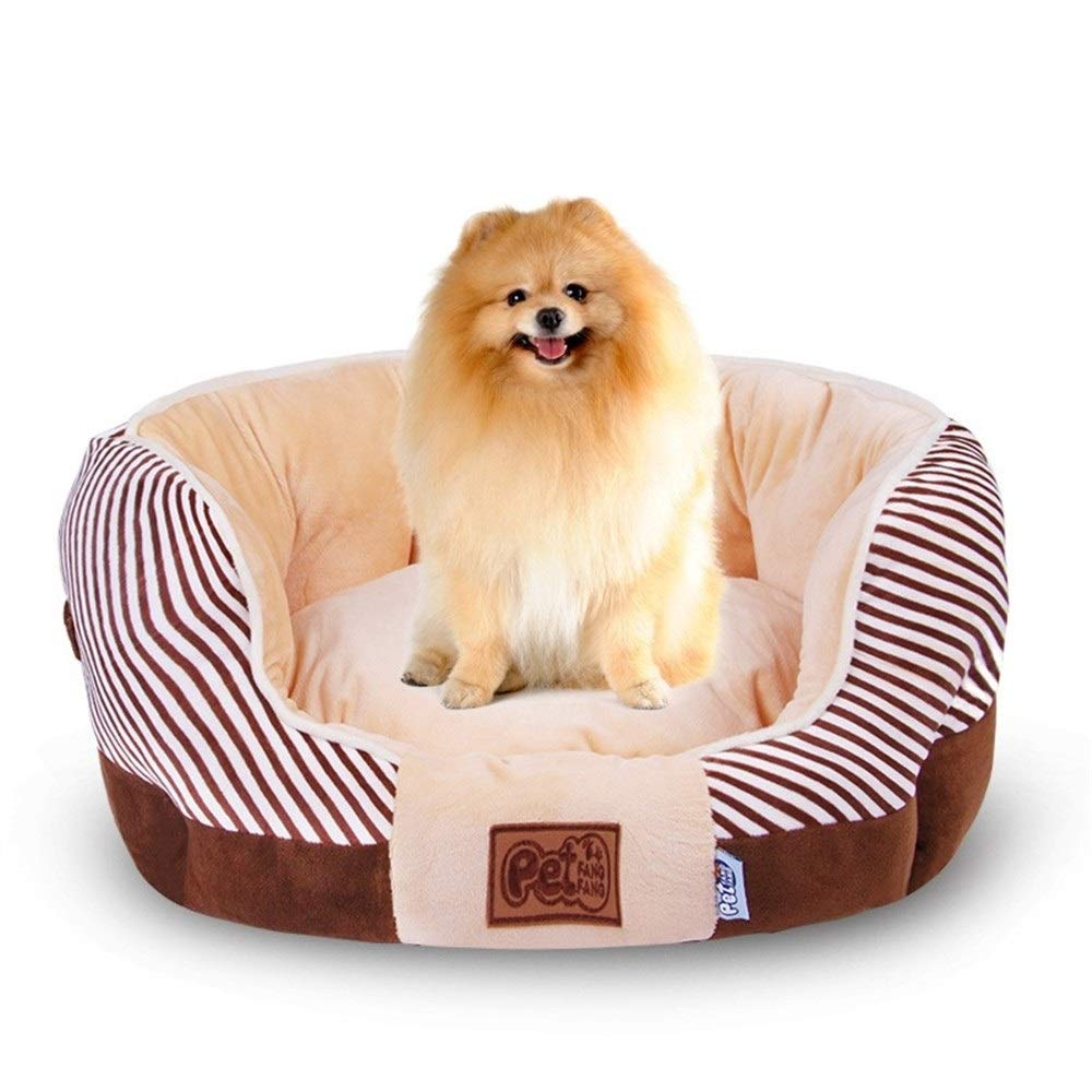 Brown M 50x45cm Brown M 50x45cm SHYPwM Pet Dog Bed Fall and Winter Warm Dog House for Small Dogs Large Dogs Soft Nest Kennel Cat Puppy Sofa Mat Pet Supplies (color   Brown, Size   M 50x45cm)