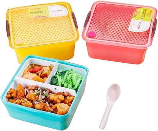 Bonita caja de almuerzo Bento de doble capa de plástico, sin BPA ...