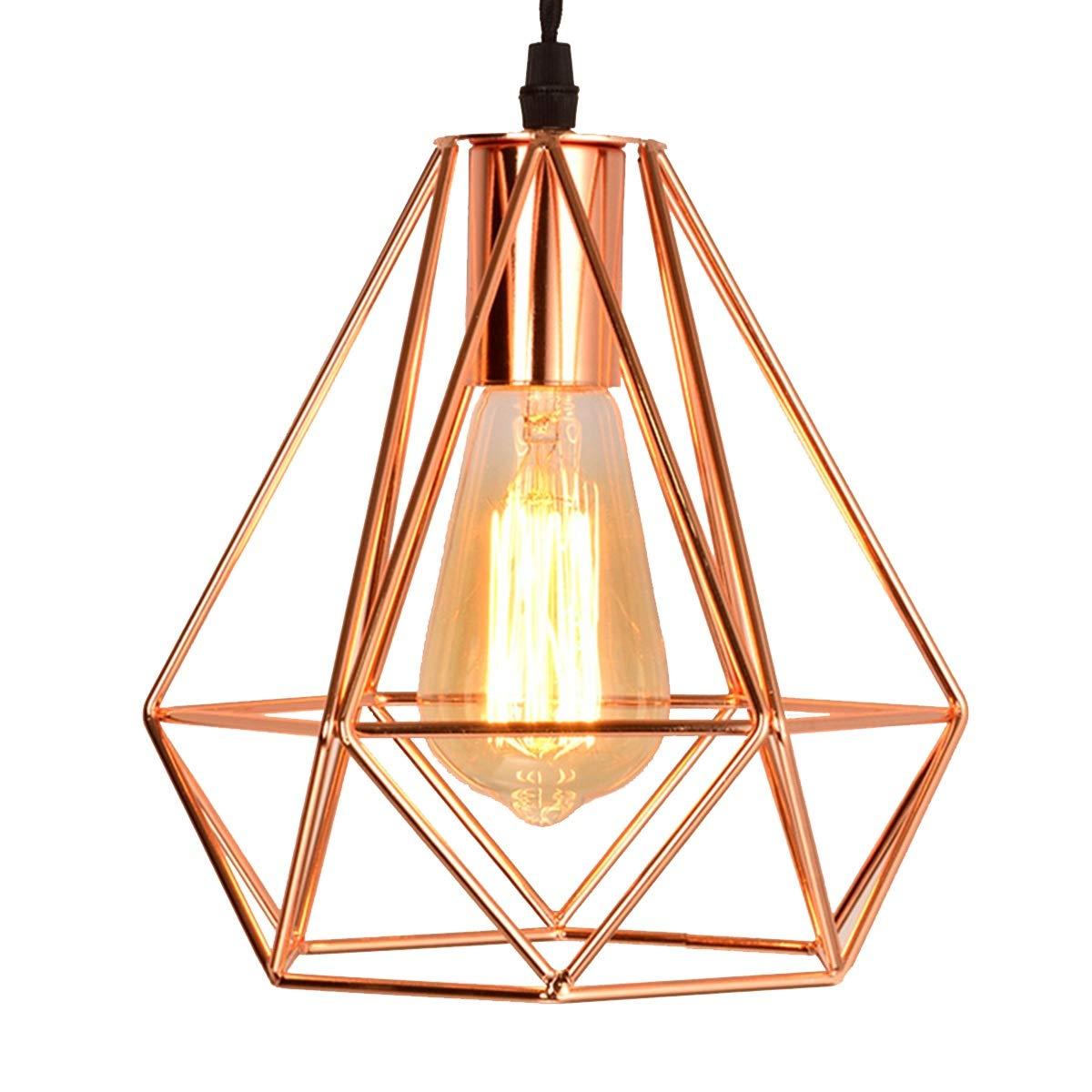 NANGE Modern Chandelier,Personality Plating Rose Gold Pendant Lights,Kitchen Island Table Dining Room Bedroom Entryway Hanging Lamp,E27(Without Light Source) (Color : AC 110V, Size : Gold) by NANGE (Image #3)