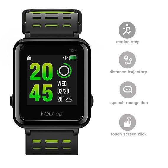 Reloj inteligente deportivo con Bluetooth, impermeable, correa de silicona, pantalla táctil, control del ritmo cardíaco, con GPS, podómetro, ...
