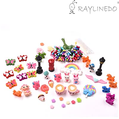RayLineDo 58pcs Fairy Garden Miniature Ornament Set DIY Kit for Succulent Landscaping Decor Home Decoration Outdoor Flower Accessories: Beauty