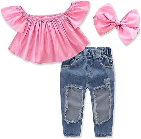 3pcs / set Kid Baby Girls barco cuello de volantes camisa + ...