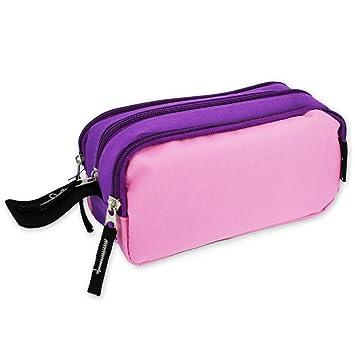 170138 - Estuche de 3 cremalleras, color rosa y morado ...