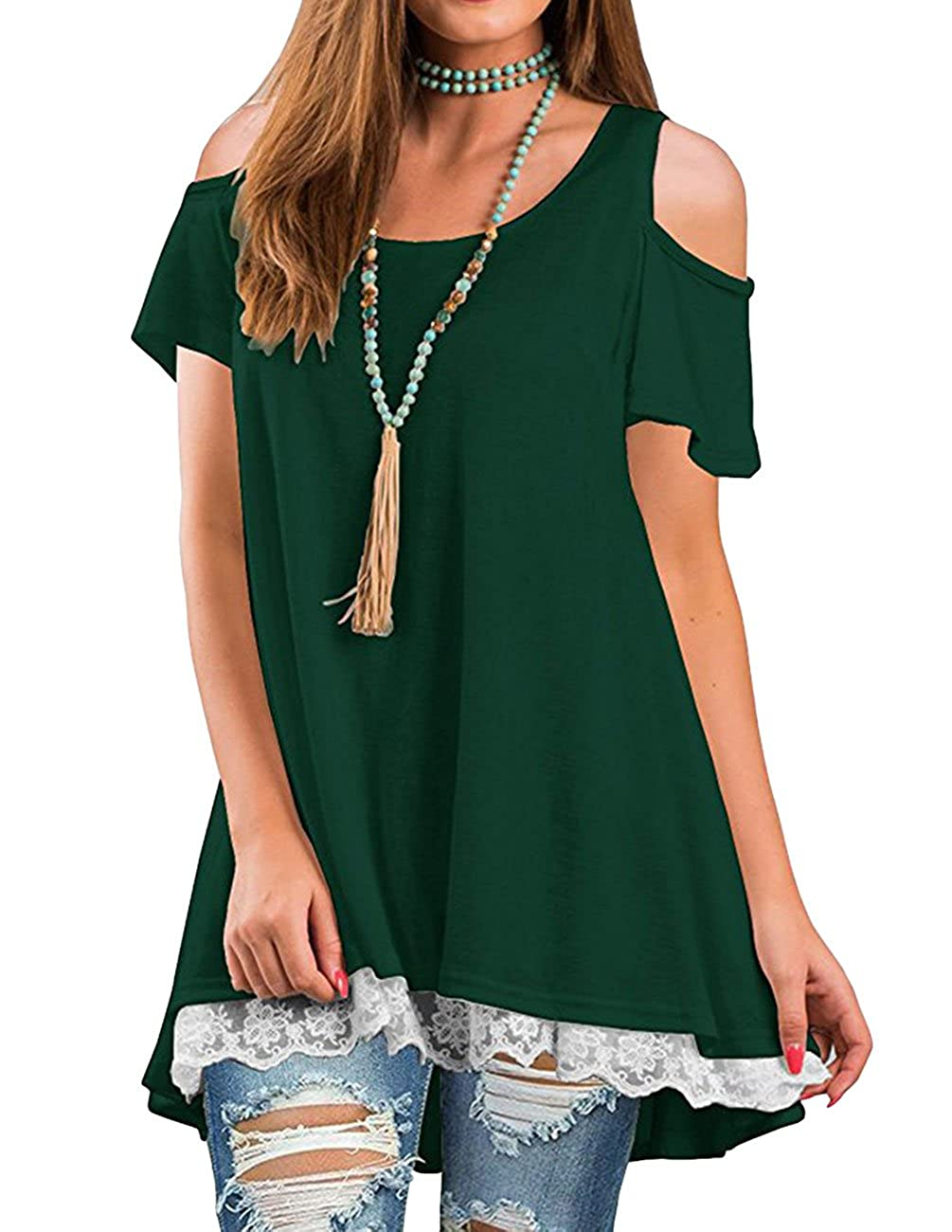 Dark Green3 Jiu1ai Womens Loose Fit Casual Shirts Short Sleeve Flowy Tunic Top Leggings
