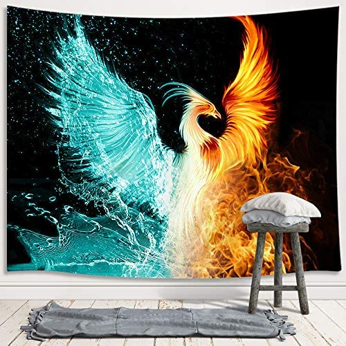 Fantasy Phoenix Large Tapestry, Water Ice and Fire Rising Phoenix Animal Anime Tapestry Wall Hanging for Bedroom, Aesthetic Tapestry for Men Beach Blanket College Dorm Home Decor 90W X 70H