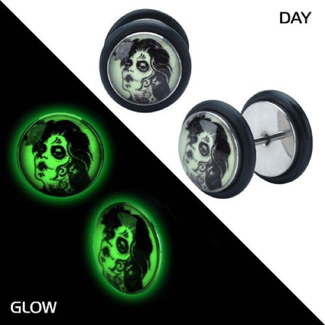 UMBRELLALABORATORY Glow in the dark ZOmbie bride earrings fake gauges plugs tapers Sold AS PAIR w 38