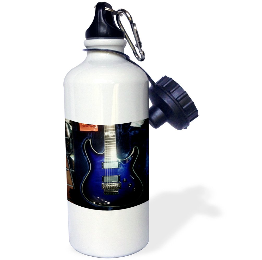 3dRose Print of Blue Electric Guitar with Chrome Skull-Sports Water Bottle 21oz 21 oz Multicolor wb/_194734/_1