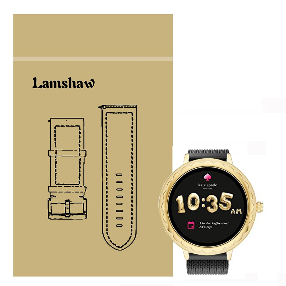 Lamshaw Band for Kate Spade Scallop Band, Quick Release Milanese Metal Stainless Steel Mesh Replacement Strap for Kate Spade Scallop Touchscreen Smartwatch (Black) by Lamshaw