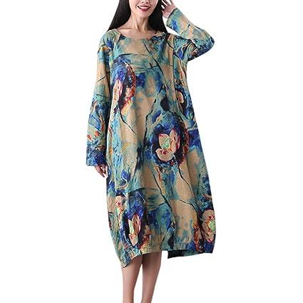 9587853515c Amazon.com  Women Plus Size Dress Ladies Long Sleeve Cotton Linen O-Neck Flower  Printed Fashion Casual Loose Long Dress  Sports   Outdoors