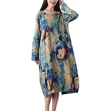 Women Plus Size Vintage Floral Tie-dye Cotton Linen Dress ...