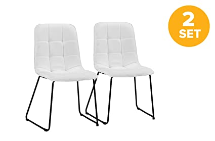 DIVANO ROMA FURNITURE Set of 2 Dining Room Chairs, Linen Fabric Kitchen  Chairs (White)