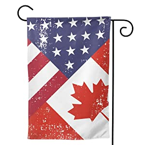 ZZATAA Retro America Canada Flag Garden Flag Vertical Double Sided Evergreen Flag Yard Outdoor Decor