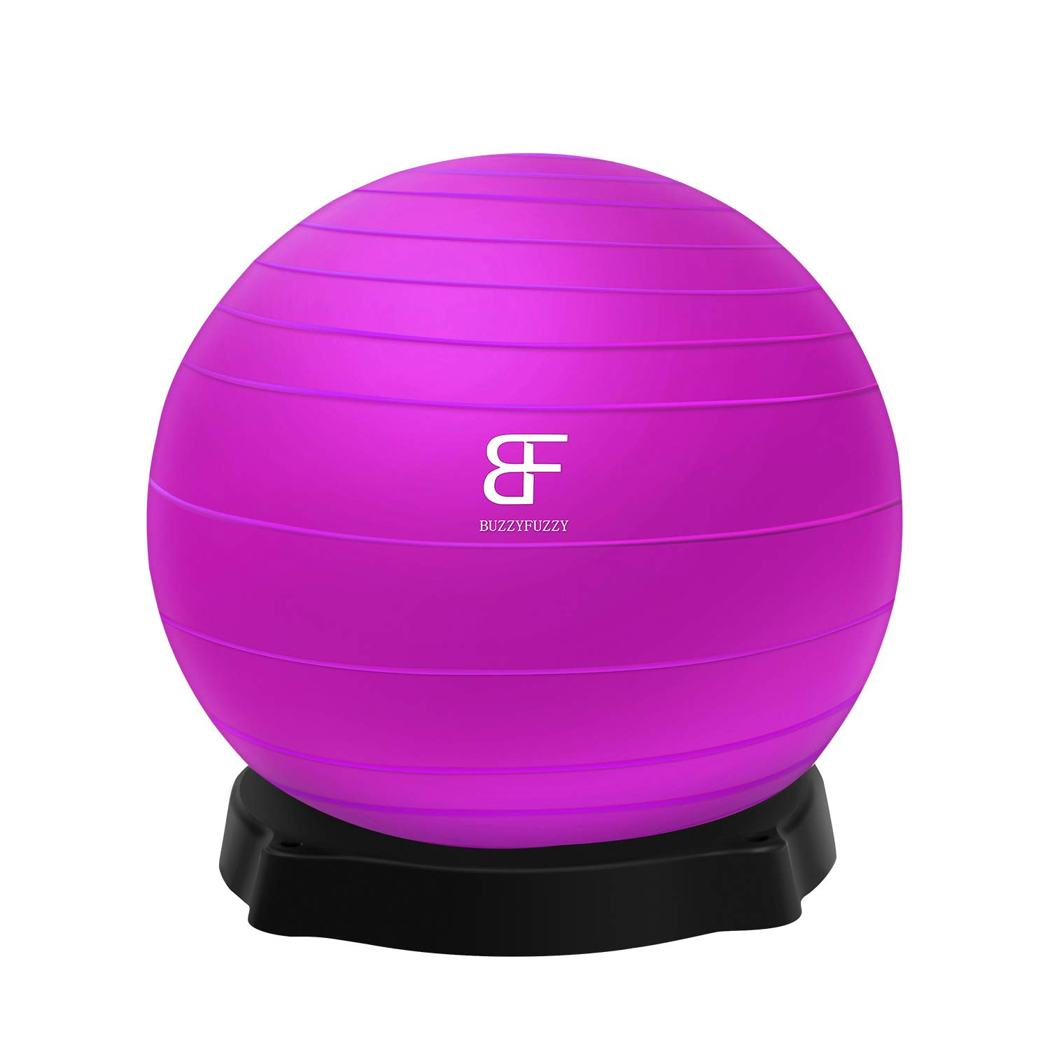 buzzyfuzzy Anti-Burst Exercise Ball for Workout Fitness/core Training,65cm eco Friendly Yoga Ball,Alternative to Office Desk Chair with Holder Base/Rack(Purple) by buzzyfuzzy