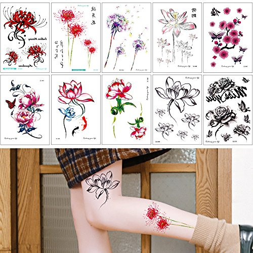 New 10 Sheets Temporary Colored Drawing Tattoo Sticker for Women Men Flower Lotus Body Decal free shipping