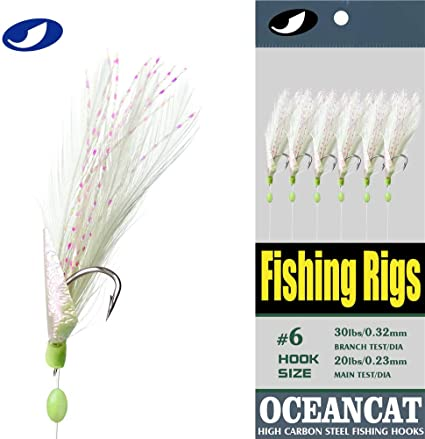 Fishing Rigs Bait Lures Freshwater Saltwater Sea Rigs Glow Rigs with Fish Skin//Feather Hooks Size #4#6#8 Pack of 10