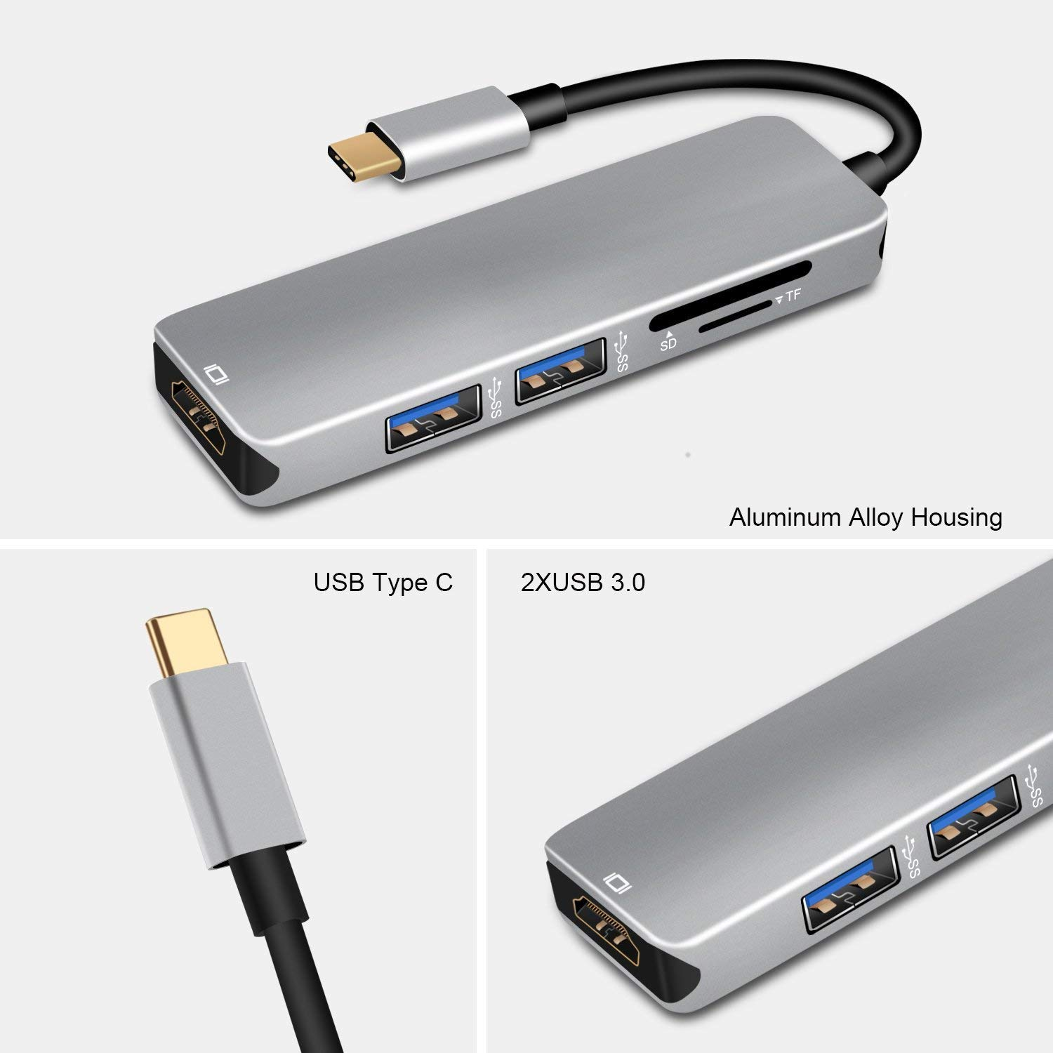 USB Type C Hub, 5 in 1 MacBook Pro Air USBC Adapter with 4K HDMI, 2 USB 3.0 Ports, SD & Micro SD Card Reader for MacBook Pro 2019-2016,MacBook Air ...