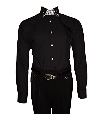 ae7368b44446 Designer Mens Classic Double Collar Shirt Slim Fit Tailored Non-Iron Long  Sleeve Shirt Black White Blue Pink - Black - 17  Amazon.co.uk  Clothing