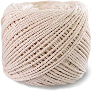SUNTQ Macrame Cord 4-Strand Twisted 100% Natural Cotton (3mm x 328 Feet) Soft Cotton Rope for Handmade Plant Hanger,Wall Hanging,Crafts,Knitting,Decorative Projects Original Color Cotton String