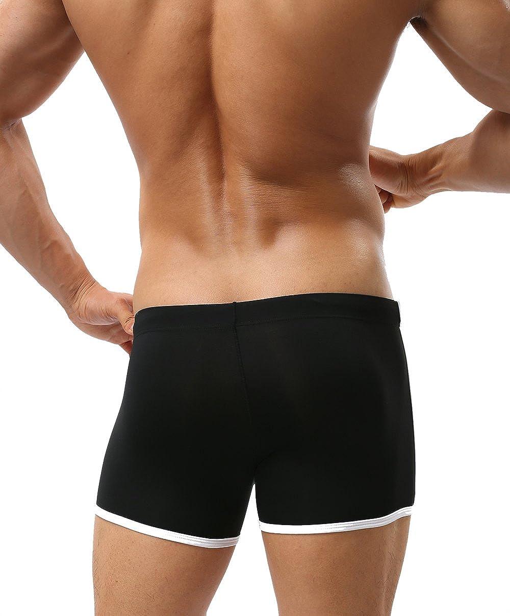 BRAVE PERSON Mens Swim Boxer Briefs Summer Beach Swimsuit Board Shorts 1010