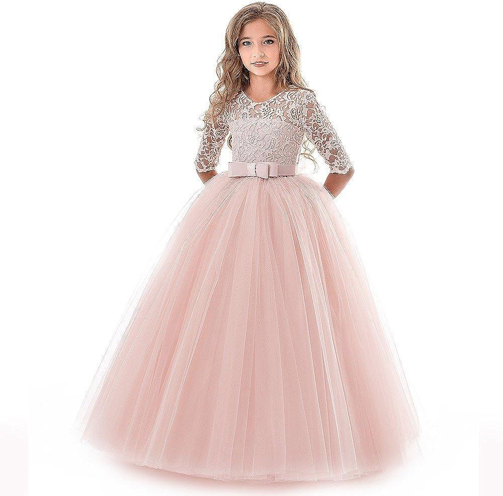 Goposuny Kinder Mädchen Spitzen Stickerei Kleid Halbarm Lange Abendkleider  Geburtstag Prinzessinenkleid Hochzeitskleid Kleidung Ballkleider