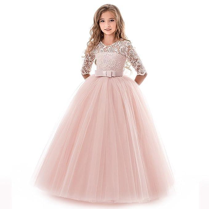 Niño Chicas Cordón Bowknot Princesa Boda Actuación Formal Vestido de tutú Ropa, Lonshell Niños Niños
