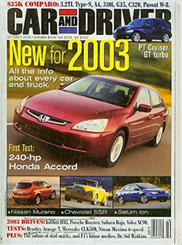 Car and Driver October 2002 - New For 2003 (Vol 48 No 4) Unknown Binding – 2003